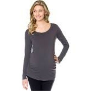 Gray BumpStart Long Leeve Maternity Shirt